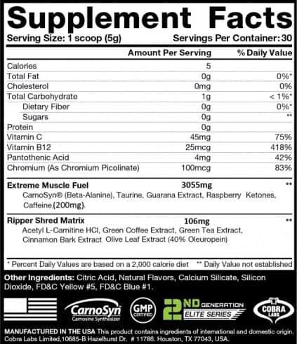 THE RIPPER!Bruciagrassi della Cobra Labs,informazioni nutrizionali